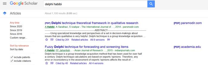 نتایج جستجو در گوگل اسکالر